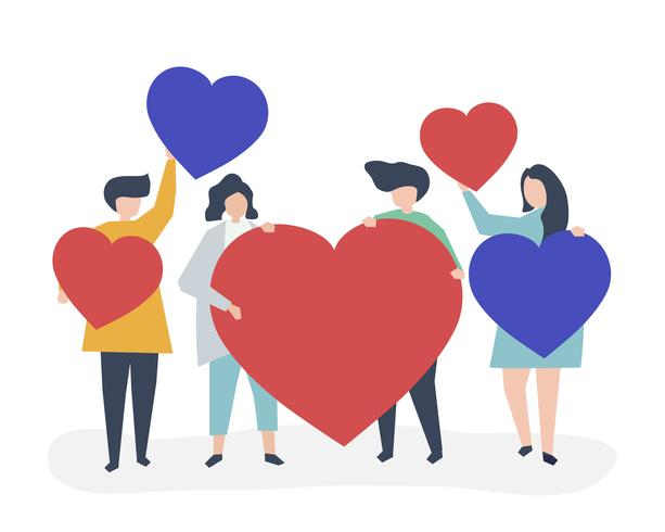 Characters of people holding heart shapes illustration