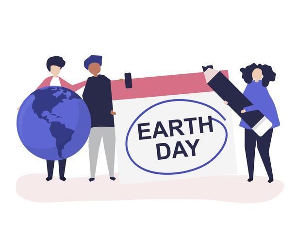 Carattere di persone e illustrazione di concetto di Earth Day