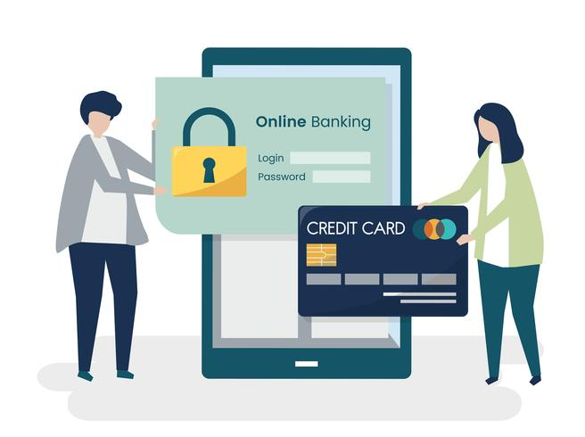 People characters and online banking security concept ...