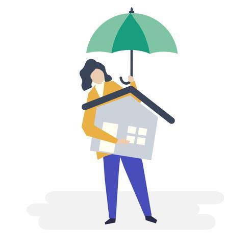 Personagem de uma mulher e ilustração do conceito de seguro residencial