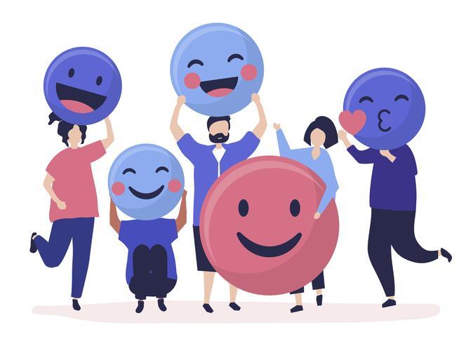 Tecken på personer som håller positiva uttryckssymboler illustration
