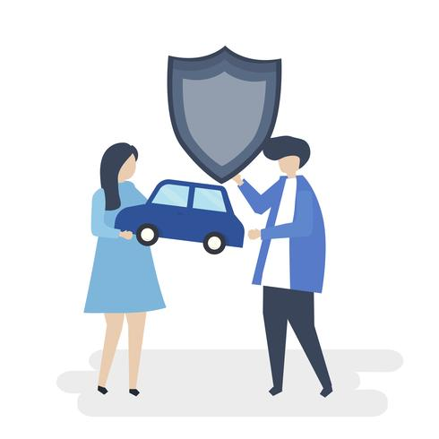 Characters of a couple holding a car and shield illustration