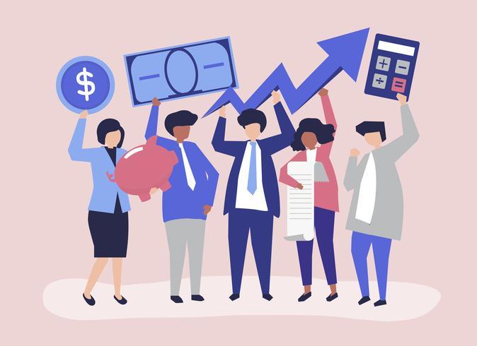 Affärsmän med ekonomisk tillväxt koncept illustration