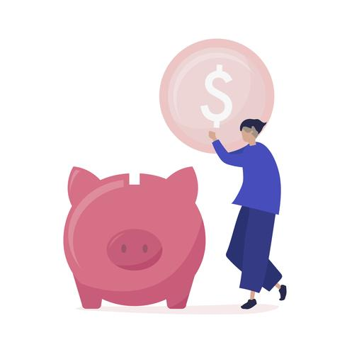 Charakter eines Mannes, der Geld in einer Sparschweinillustration speichert