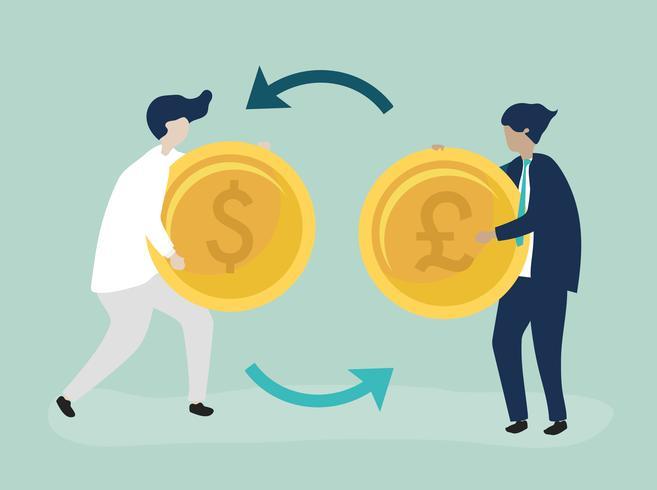 Charaktere von zwei Geschäftsmännern, die Währungsillustration austauschen