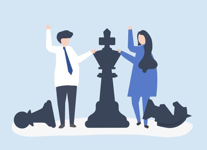 Gens d'affaires avec des pièces d'échecs géantes