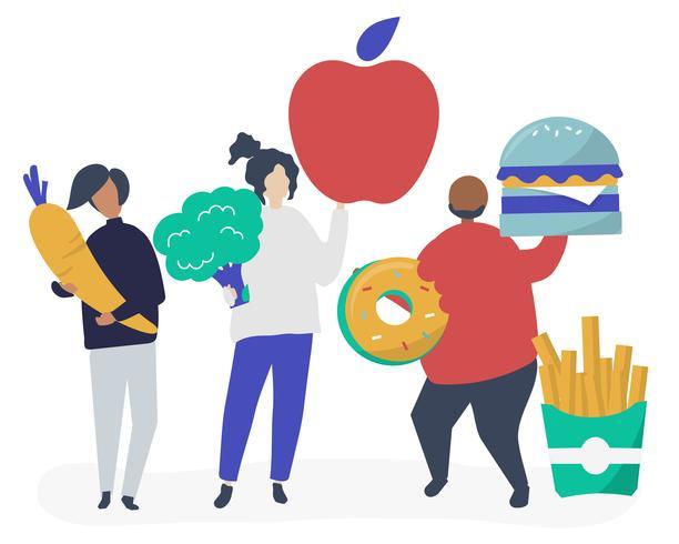 Caractères des personnes tenant des icônes d'icônes de nourriture
