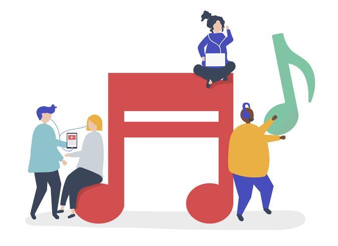 Personajes de personas escuchando música ilustración.