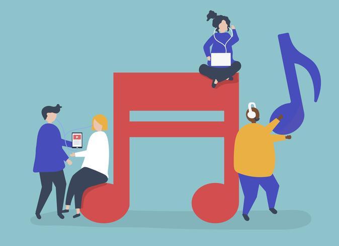 Caractères de gens écoutant de la musique