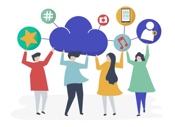 Pessoas, segurando, nuvem, e, social, networking, ícones, ilustração