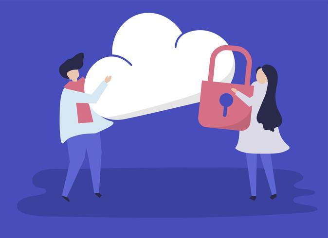 Tecken på ett par och ett moln säkerhets illustration