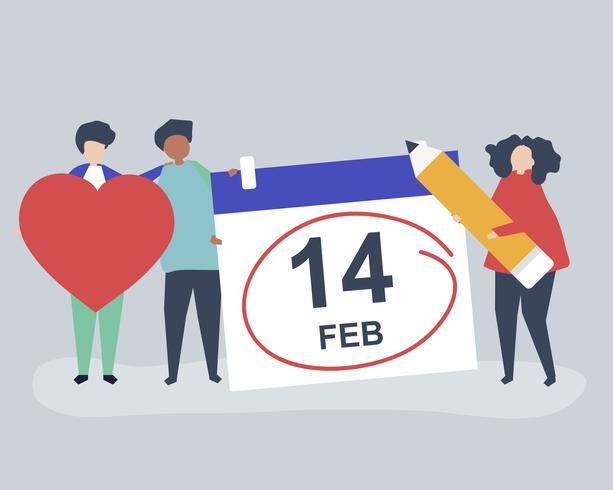 Gente que sostiene el ejemplo de los iconos del concepto del día de tarjeta del día de San Valentín