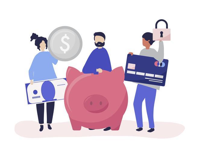 Människor med besparingar och säkerhets ikoner illustration