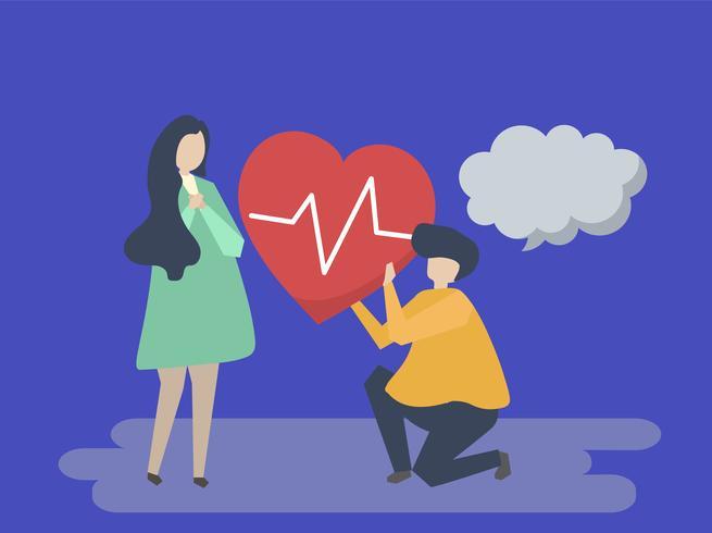 Cara segurando um coração batendo para uma ilustração de mulher