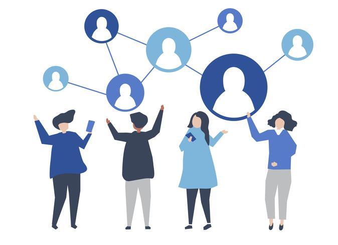 Tecken på människor och deras sociala nätverk illustration