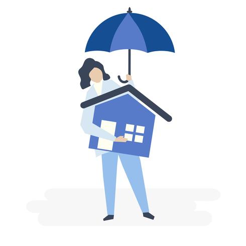 Charakter einer Frauen- und Wohnversicherungskonzeptillustration