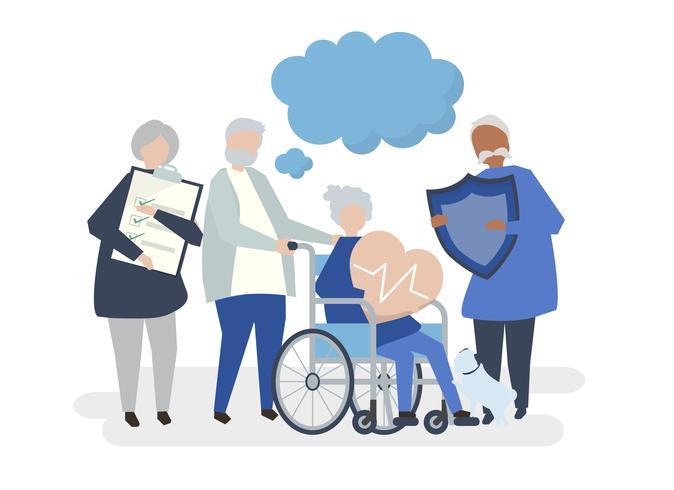 Personagens de pessoas idosas segurando a ilustração de ícones de saúde