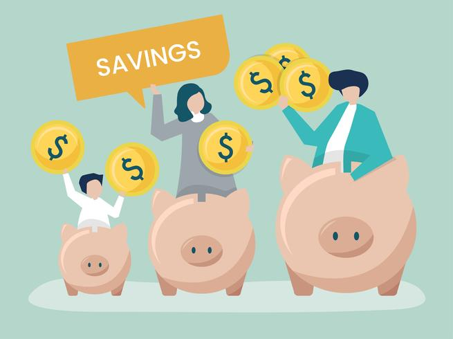 Family with savings and piggy bank icons illustration