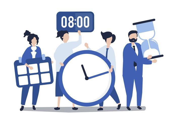 Tecken på personer som håller tidskonceptkonceptillustrationen
