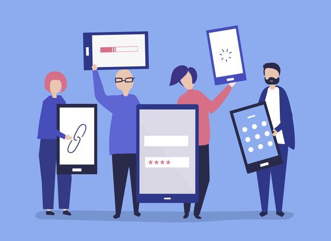 Personajes de personas con dispositivos digitales gigantes ilustración