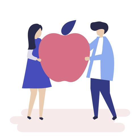 Personagem de um casal segurando uma ilustração de apple