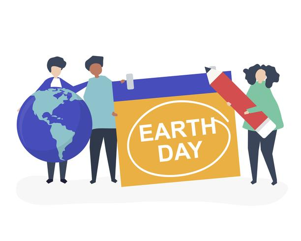 Caractère des gens et illustration du concept du Jour de la Terre
