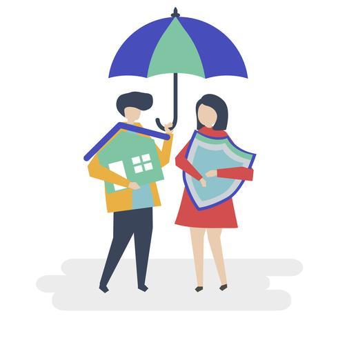 Paar en een huis verzekering concept illustratie