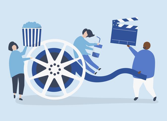 Tecken på personer som håller filmikonen illustration