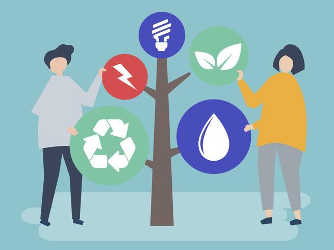 Caractères des personnes et un arbre d'illustration d'icônes de l'environnement