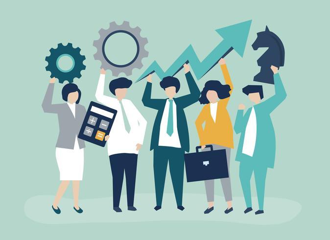 Ilustración de concepto de crecimiento y estrategia de negocio