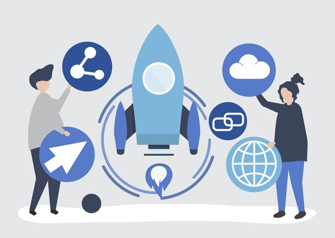 Dos personas con ilustración de iconos de tecnología de inicio