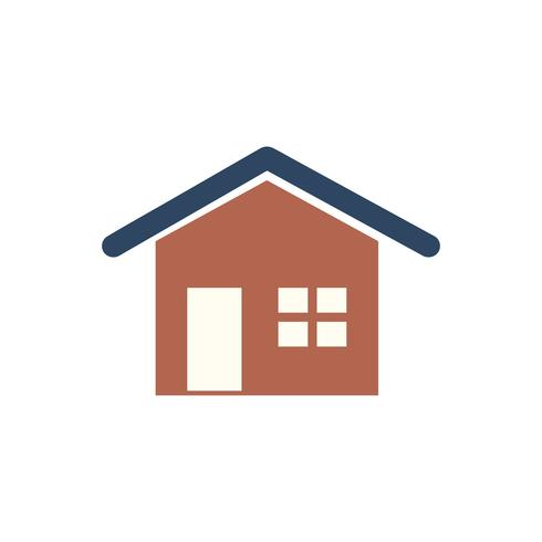 Red house isolated graphic illustration