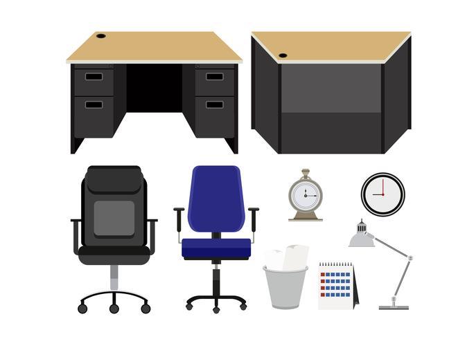 Samling av kontorsmöbler isolerad på vit bakgrund