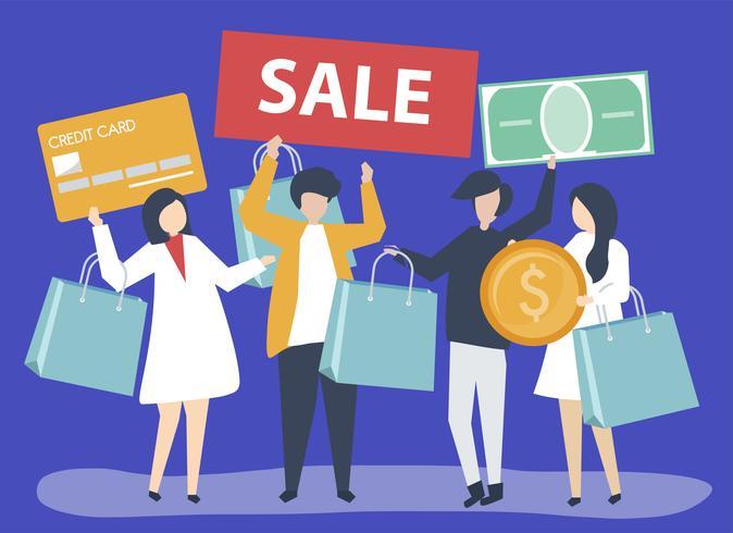 Tecken på personer som håller shopping ikoner illustration