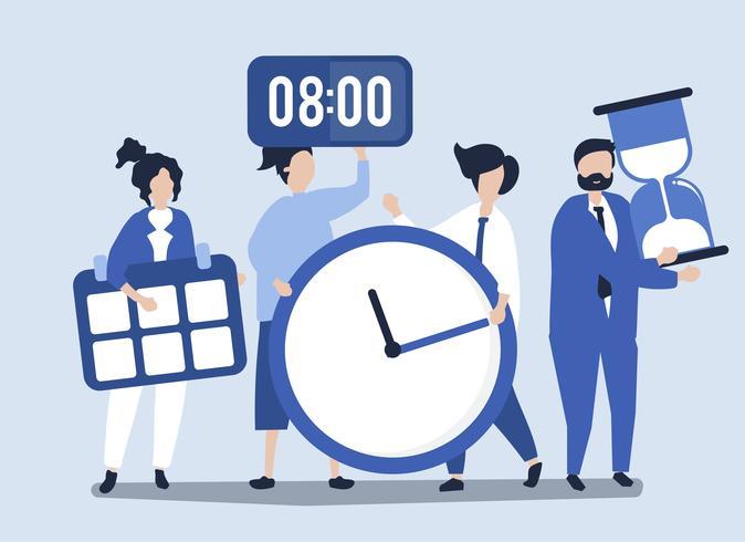 Karakters van mensen die het conceptenillustratie van het tijdbeheer houden