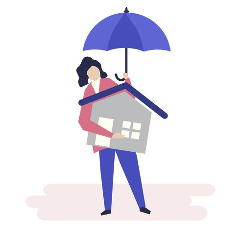 Carattere di una donna e un'illustrazione di concetto di assicurazione residenziale
