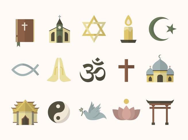 Collection de symboles religieux illustrés