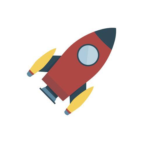 Ilustración gráfica aislada cohete espacial de color rojo