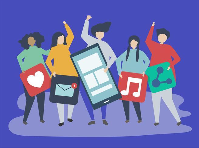Caractères des personnes détenant des icônes d'icônes de réseaux sociaux