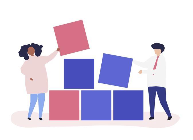 Ilustración del concepto de trabajo en equipo de un par de bloques de construcción juntos