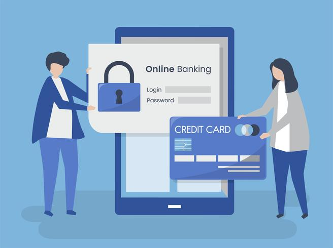 Mensenkarakters en de online illustratie van het bankwezenveiligheidsconcept