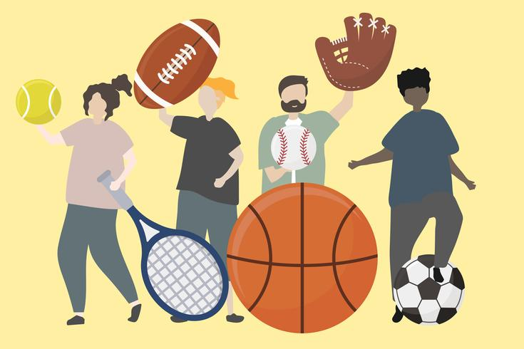 Um, grupo pessoas, com, equipamento esporte, ilustração