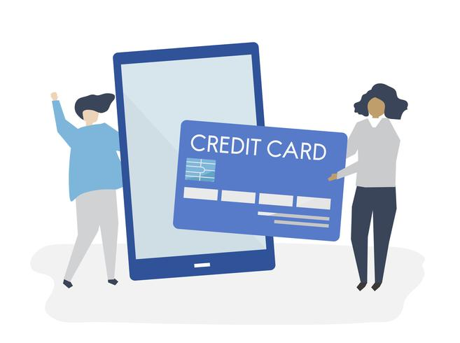 Personnes faisant une illustration de transaction de carte de crédit en ligne