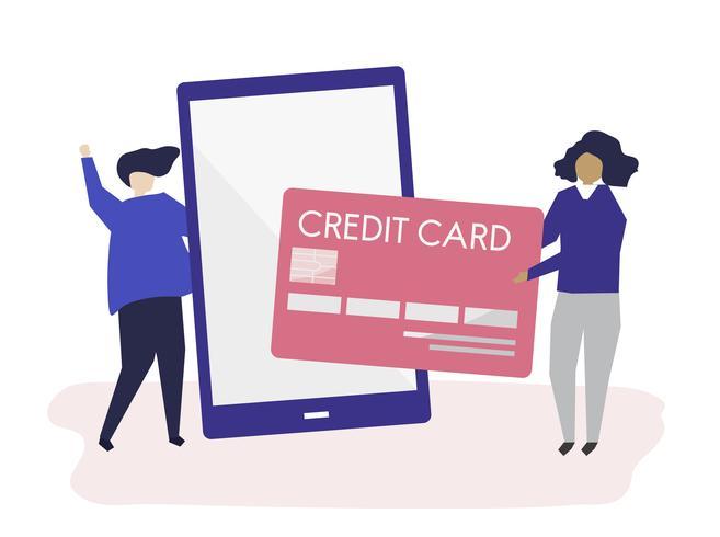 Människor gör en online kreditkorts transaktion illustration