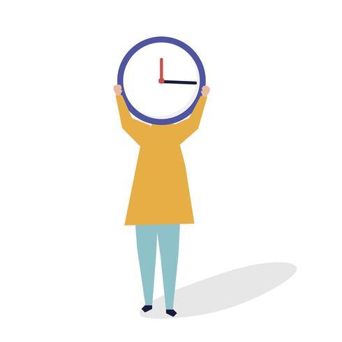 Karaktär av en person med en klocka som huvudillustration