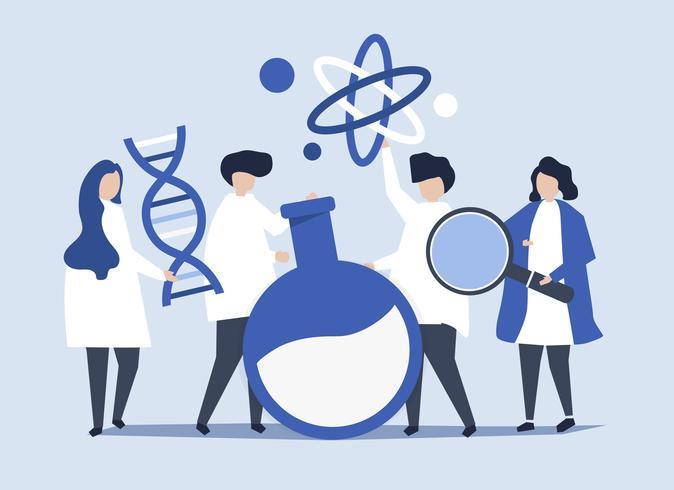 Personajes de científicos sosteniendo química iconos ilustración