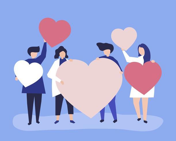 De karakters van mensen die hart houden vormen illustratie