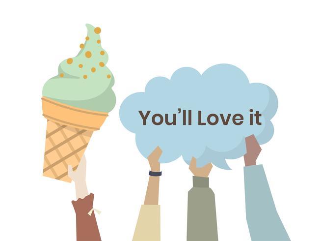 Lyckliga människor med glass