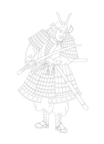 Samurai, Japanese warrior adult coloring page
