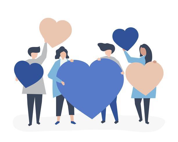 Caractères de personnes tenant illustration de formes de coeur
